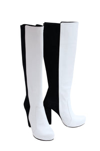 White Leather Black Suede - Chunky Heel