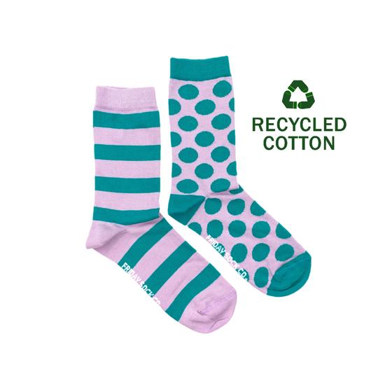 Unisex Recycled Cotton Teal & Purple Stripe & Dot Socks