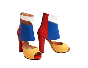 Multi-color Chunky Heel
