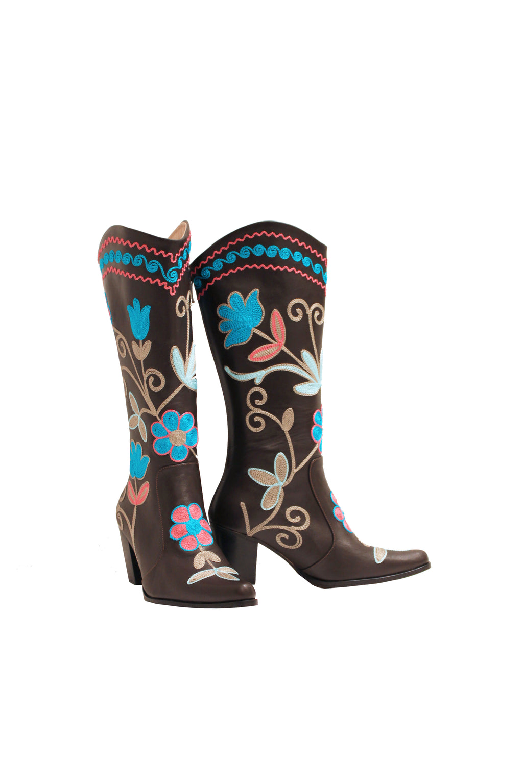 Brown Leather Embroidered - Cowboys