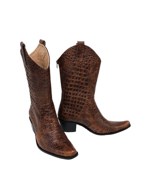 Brown Croc-Embossed Leather - Pull On Cowboys