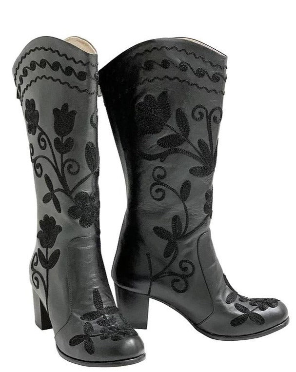 Black Leather Embroidery Western Boots
