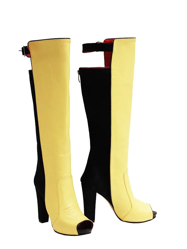 Black Suede Yellow Leather - Chunky Heel