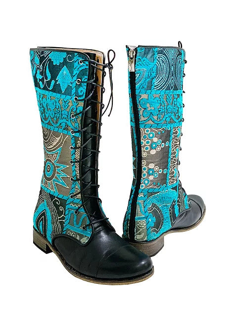 Blue Lace Up Mid-Calf Riding Boots
