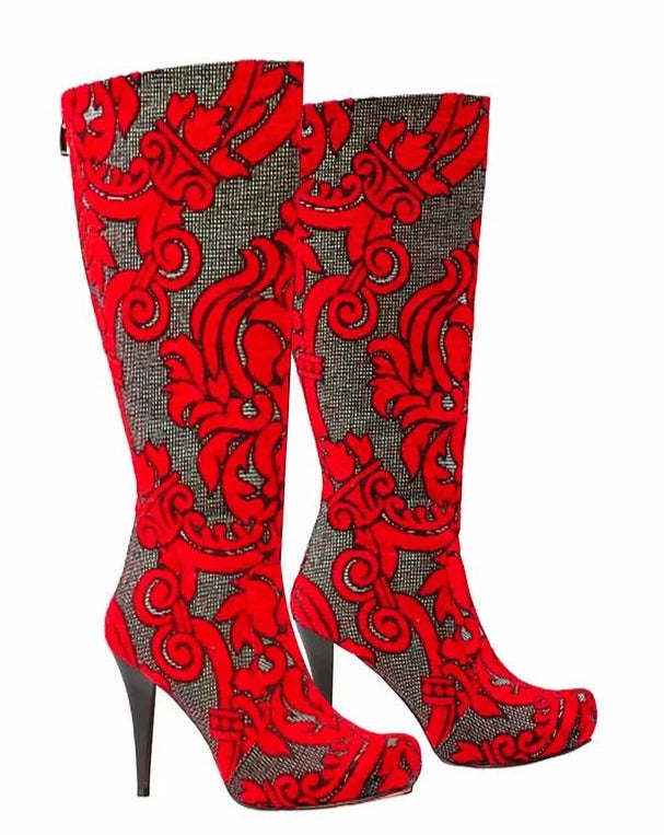 Bold Red Knee High Stiletto
