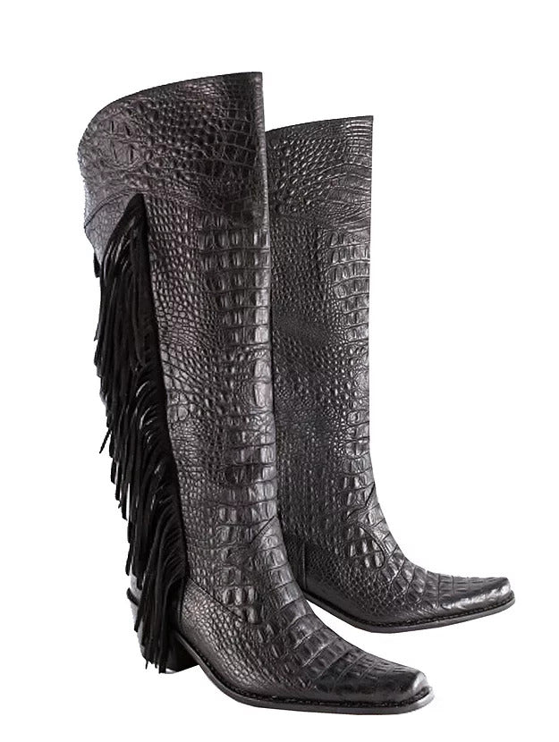 Matte Fringe Knee High Cowboys