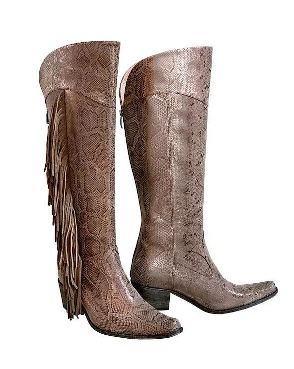 Silver Snake Fringe Knee High Cowboys