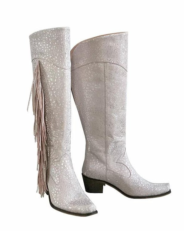 Dusty Pink Fringe Knee High Cowboys