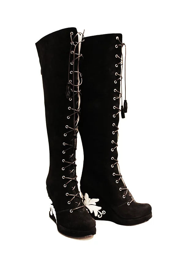 Suede Lace Up Front OTK Wedge