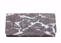Silver Python Leather Clutch