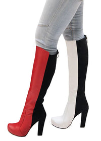 White/Red Leather Black Suede - Chunky Heel