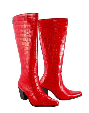 Red Croc Leather - Cuban Heel