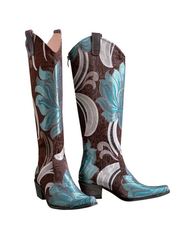 Silver Turquoise Floral Cowboys