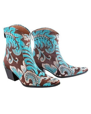 Turquoise Brown Ankle Cowboys