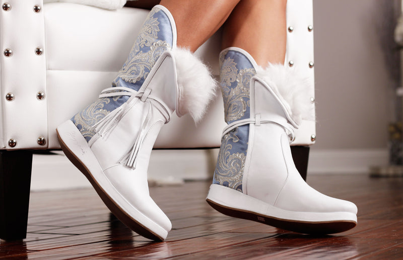 Ice Blue Leather Uptown Winter Boot