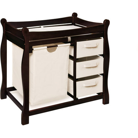Badger Basket - Changing Table with Hamper and Baskets, Espresso