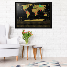 Load image into Gallery viewer, Framed World Scratch Map