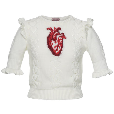 BEATING HEART PULLOVER WHITE