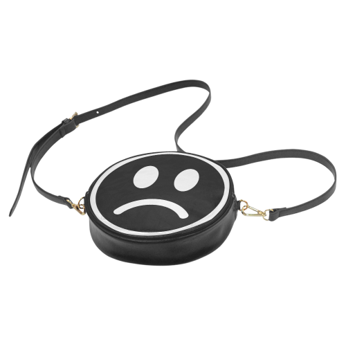 Sad Aesthetic Frowny Face Faux Leather Round Crossbody Bag - Purse