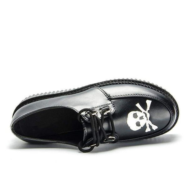 skull and crossbones lace-up platform creepers