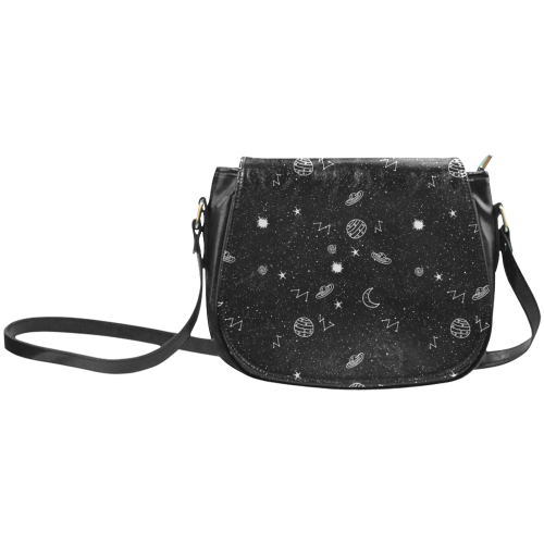 Space Doodles Faux Leather Envelope Crossbody Bag - Black / Small - Purse