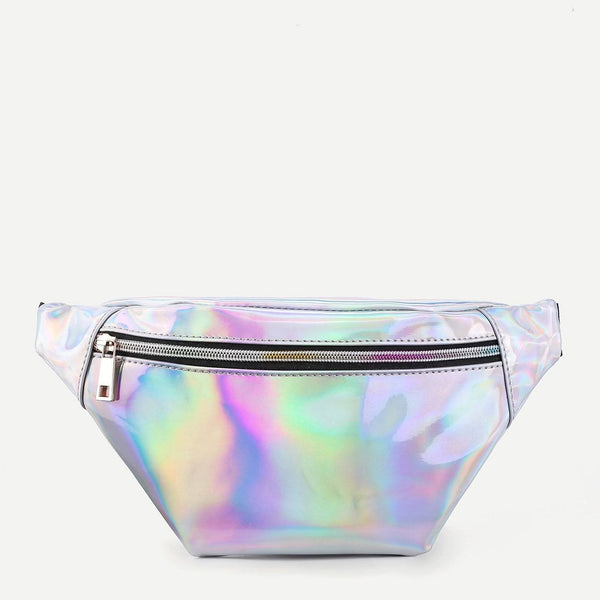 holographic zippered fanny pack