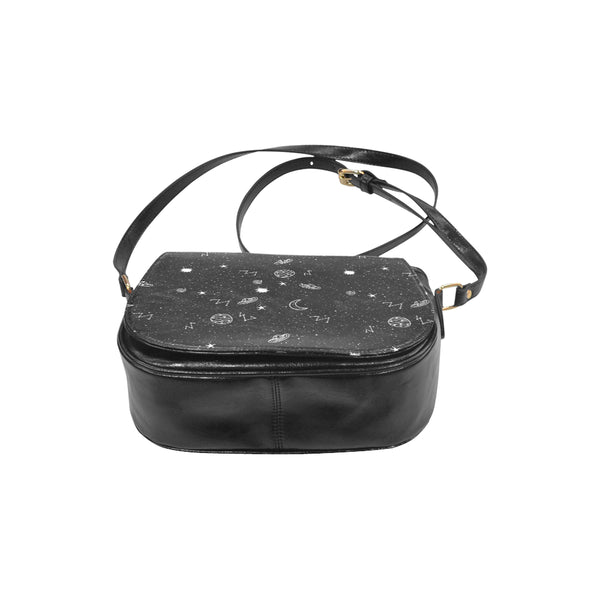 Space Doodles Faux Leather Envelope Crossbody Bag - Purse