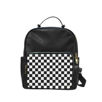 Checkered Pocket Black Faux Leather Backpack - Small - Backpack