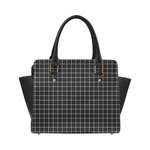 Black Grid Faux Leather Top Handle Crossbody Handbag - Black - Purse