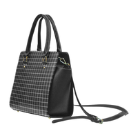 Black Grid Faux Leather Top Handle Crossbody Handbag - Purse
