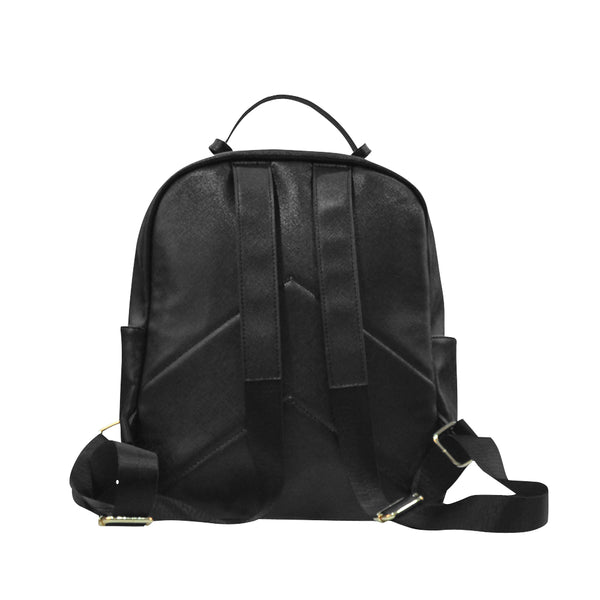 Checkered Pocket Black Faux Leather Backpack - Backpack