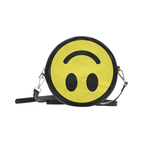 Upside Down Smiley Face Faux Leather Round Crossbody Bag - Black/yellow - Purse