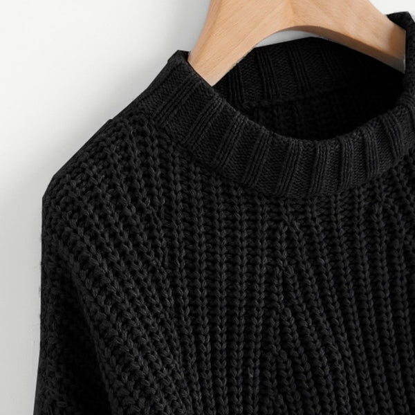 Abstract Cable Knit Crop Pullover Sweater - Sweater