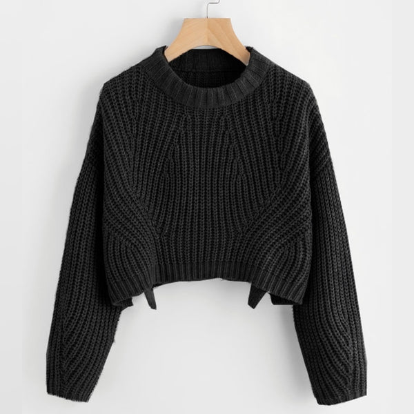 Abstract Cable Knit Crop Pullover Sweater - Black / S - Sweater