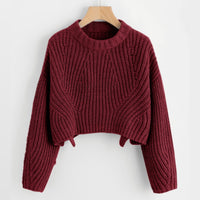 Abstract Cable Knit Crop Pullover Sweater - Burgundy / S - Sweater