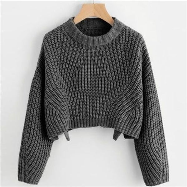 Abstract Cable Knit Crop Pullover Sweater - Gray / S - Sweater