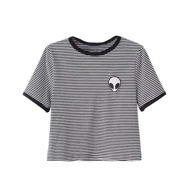 alien patch 90s ringer crop top tee - Black/White Striped / L - Crop Top