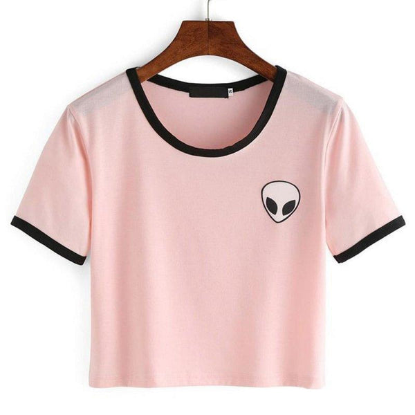 alien patch 90s ringer crop top tee - Pink / L - Crop Top