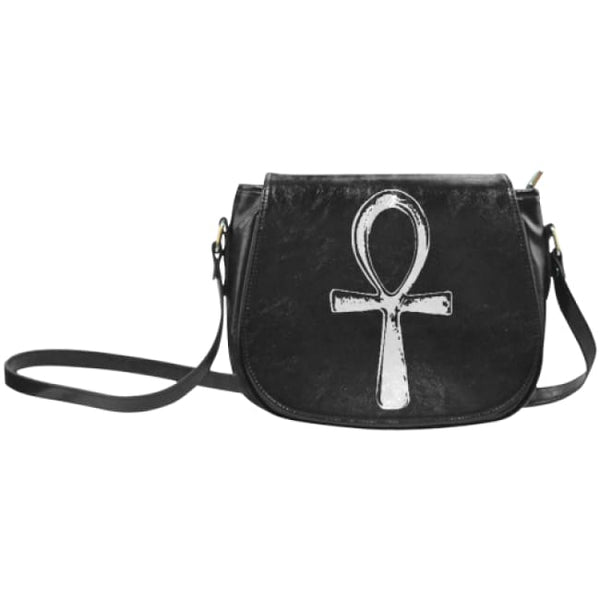 Ankh Gothic Faux Leather Envelope Crossbody Bag - Black / Small - Purse