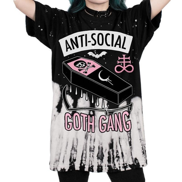 anti-social goth gang oversize tee - Black / S - Unisex Tee
