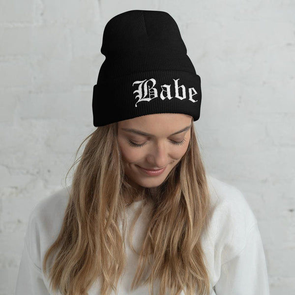 Babe Gothic Text Embroidered Cuffed Beanie - Beanie