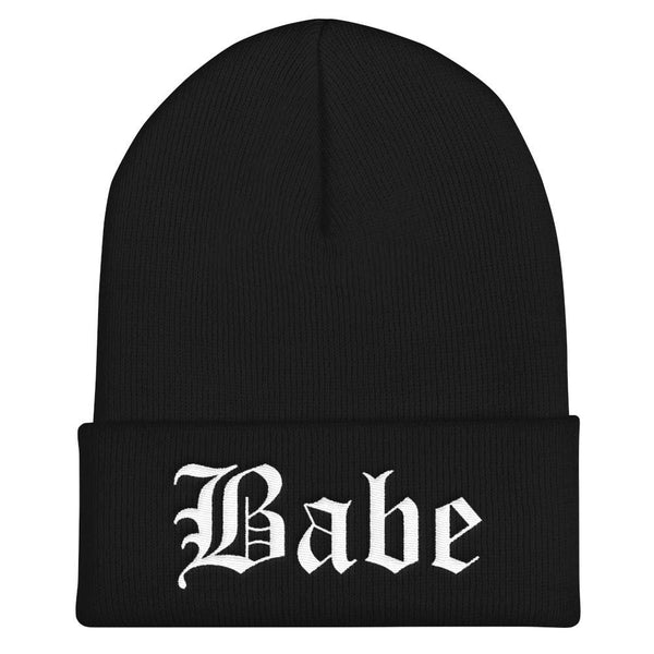 Babe Gothic Text Embroidered Cuffed Beanie - Black - Beanie