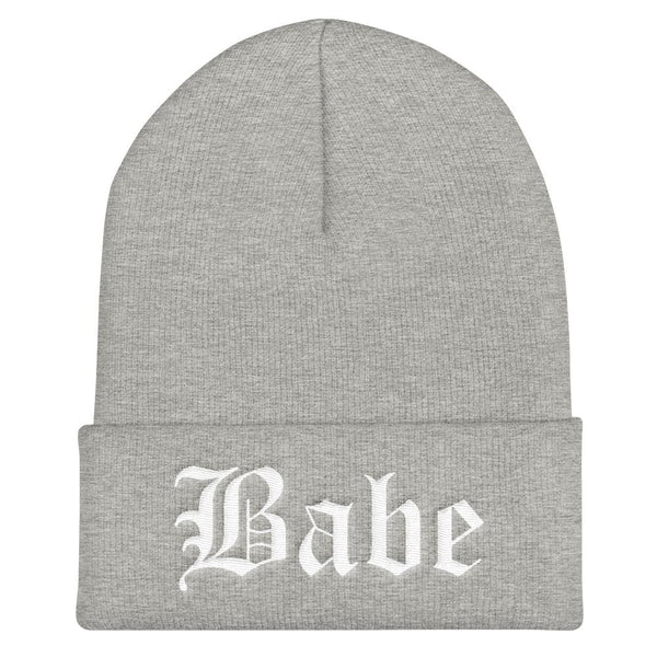 Babe Gothic Text Embroidered Cuffed Beanie - Heather Grey - Beanie