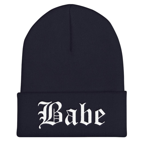 Babe Gothic Text Embroidered Cuffed Beanie - Navy - Beanie