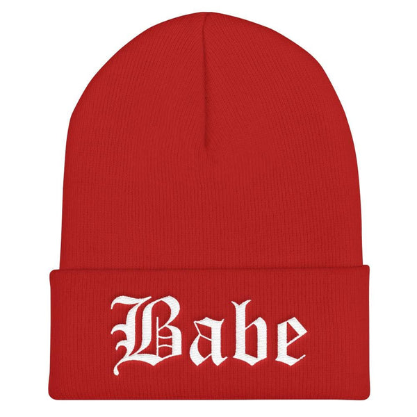Babe Gothic Text Embroidered Cuffed Beanie - Red - Beanie