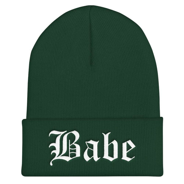 Babe Gothic Text Embroidered Cuffed Beanie - Spruce - Beanie