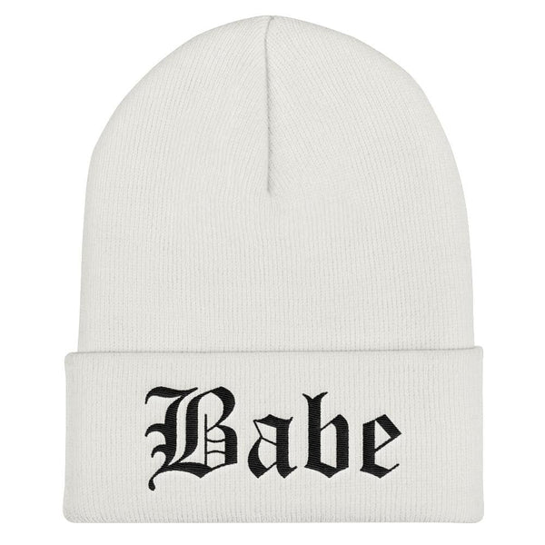 Babe Gothic Text Embroidered Cuffed Beanie - White - Beanie