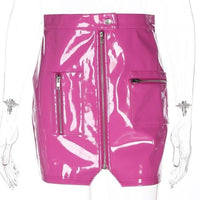 Barbie Girl Patent Shine Fitted Mini Skirt - Hot Pink / L - Skirt