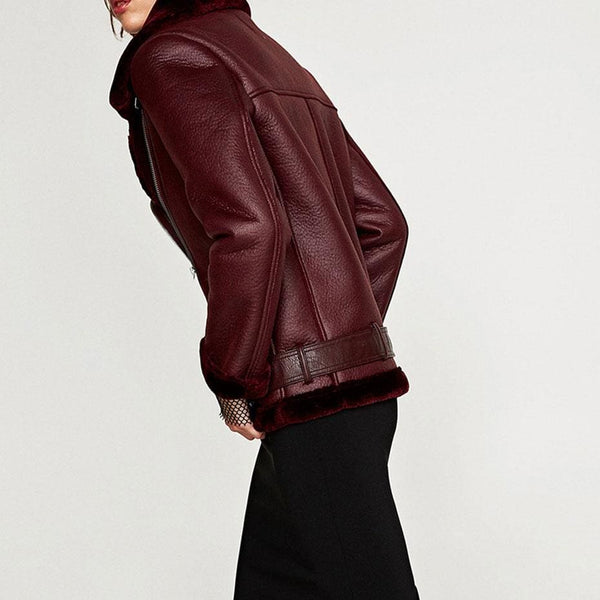 Belted Faux Fur Lined Faux Leather Moto Jacket Coat - Coat