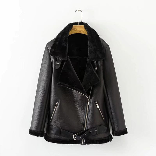 Belted Faux Fur Lined Faux Leather Moto Jacket Coat - Black / S - Coat